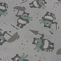 Bavlněná látka Medvěd s deštníkem f9b33a106a2