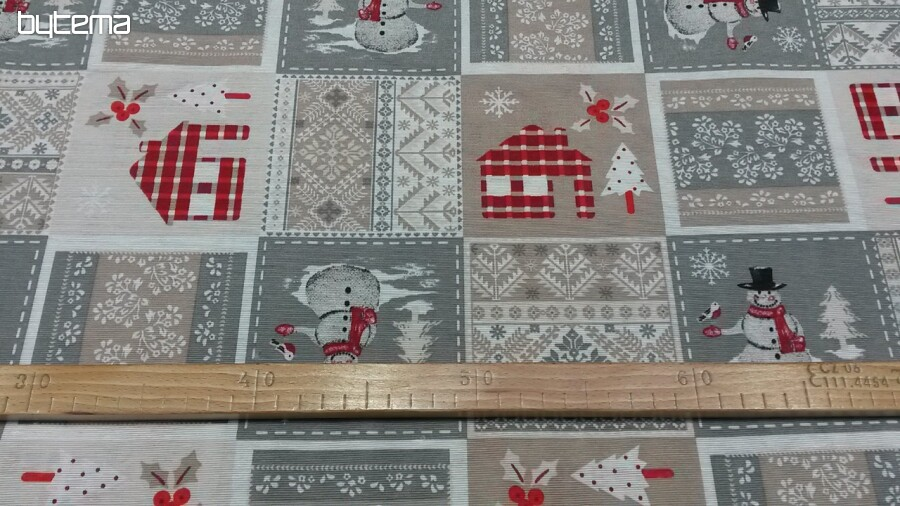 fb84e382d70 Dekorační látka Vánoční SANTA šedý