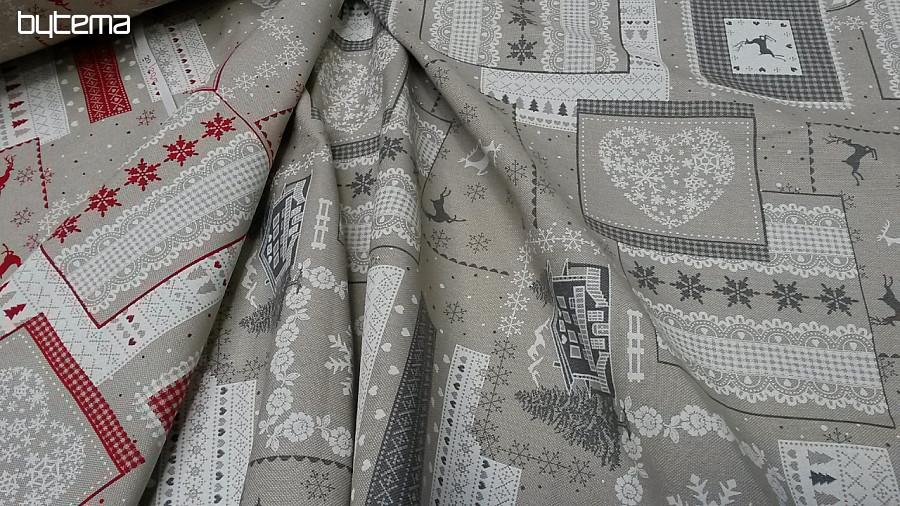 b4f2a9ef21f Dekorační vánoční látka CASA šedá