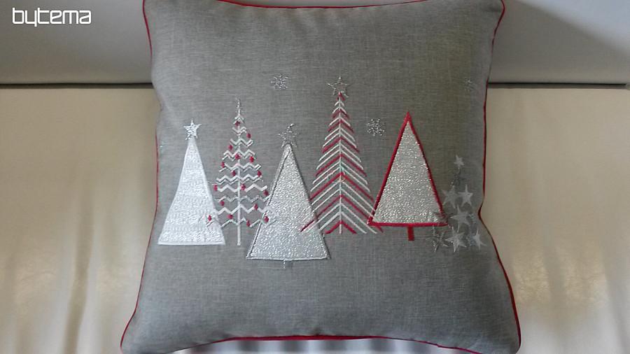 ea3bd315cbc Vyšívaný dekorační povlak Vánoční stromky šedý